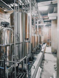 A brewers stainless steel hot liquor tank