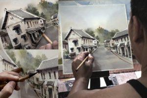 Local Lao artist Hongsa paints street scenes for Luang Prabang beer label